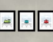 Kids Train Art - Boy Room Decor - Train Engine, Car and Caboose - Set of 3