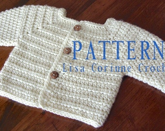 Baby Sweater PATTERN, Baby Boy Crochet Sweater PATTERNS, Crochet Baby Sweater, Sweater Jacket
