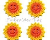 UNCUT Happy Sun felt applique embellishment felties hair bow centers (4)