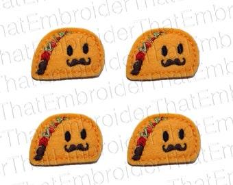 UNCUT Señor Taco applique embellishment feltie hair bow center (4)