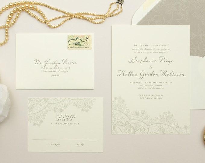 Romantic Wedding Invitations, Vintage Lace Invite, Neutral Colors, Grey Invitation, Wedding Invite SAMPLES   Harmony