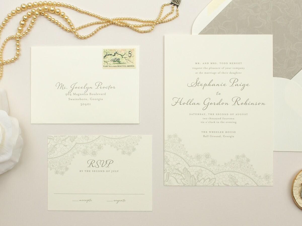 Romantic Wedding Invitation Wording: Romantic Wedding Invitations Vintage Lace Invite Neutral