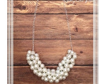White Pearl Cluster Necklace