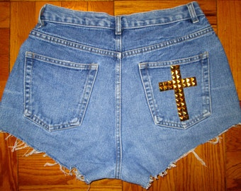 SALE High Waisted Jean Shorts  - Cross Detail