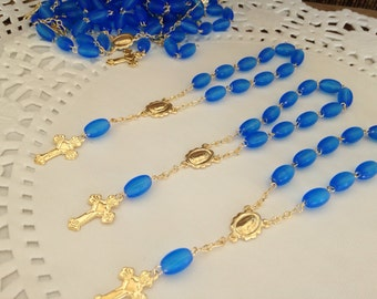 70 pc baptism favors  frosted blue /christening favors / mini rosary/ recuerditos / communion favors royal blue