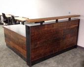 Adam Reclaimed Wood & Steel Reception Desk