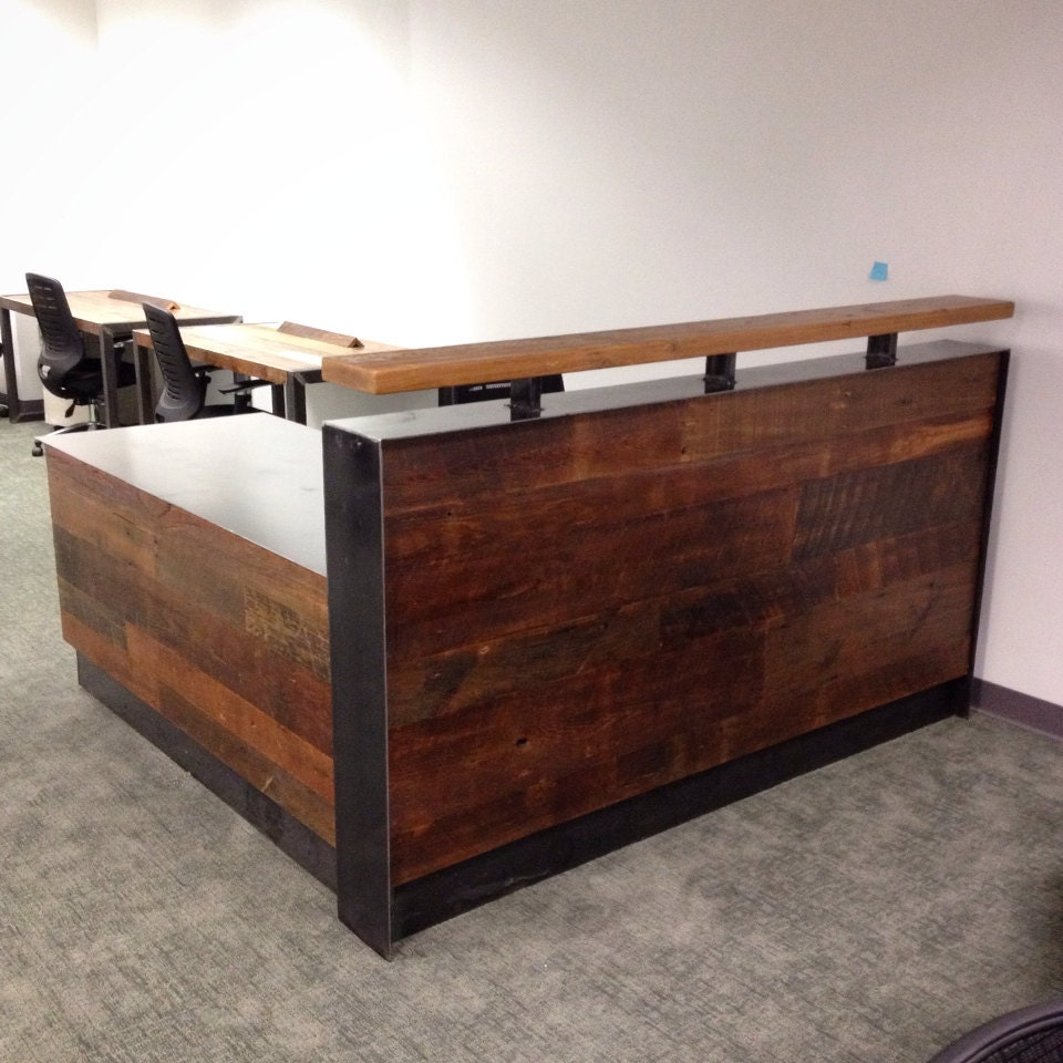 Reclaimed wood steel reception desk