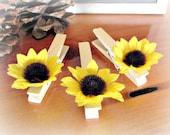 Sunflower Wedding Place-Card Holder, Sunflower Clothes-Pins, Sunflower Party Decoration, Sunflower Favors,  Summer Fall Autumn Wedding Decor