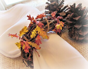 Fall Napkin Rings, Autumn Leaf Napkin Rings, Thanksgiving Napkin Rings, Rustic Grapevine Napkin Rings, Thanksgiving Table Decor Decoration