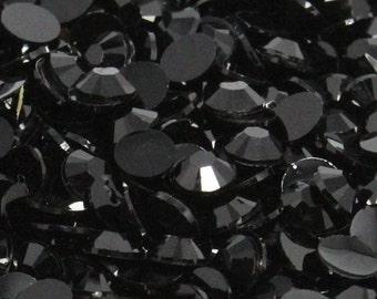 100 Pieces 7mm Black Flatback Resin High Quality Rhinestones DIY Deco Bling Kit Embellishments