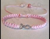 breast cancer bracelet. breast cancer awareness bracelet. macrame bracelet. pink bracelet. handmade bracelet.  pink ribbon.