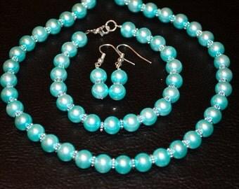 Aqua Pearl Jewelry Set 3pc