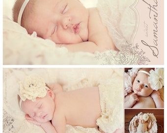 Blush Pink & Ivory Vintage Style Floral Baby Girl Birth Announcement - Digital File JPG or PDF, 5x7 or 4x6 Horizontal