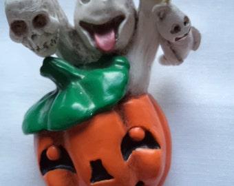 Vintage Unsigned  Halloween Ghost/Pumpkin Brooch/Pin