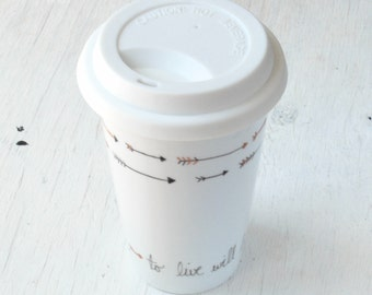 Hand Painted Peter Pan Arrow Porcelain Travel Mug with BLACK Silicone Lid // Eco Friendly graduation gift