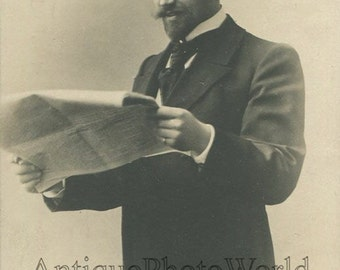 Handsome Leonid Sobinov Russian opera singer w newspaper antique photo pc