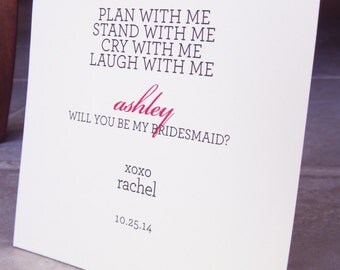 """7 Will You Be My Bridesmaid Cards Personalized """"Plan, Stand, Cry, Laugh"""" Modern Type"""