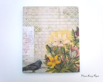 Wildflower Bird Coptic Journal Notebook Scrapbook Sketchbook, Handmade Country Rustic Wedding Guest Book, Bird Wedding Photo Album Registry