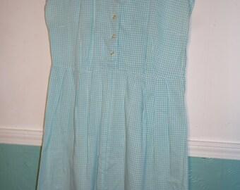 Vintage Handmade Large Dress Tunic Shift Coat Button Down Blue White Gingham