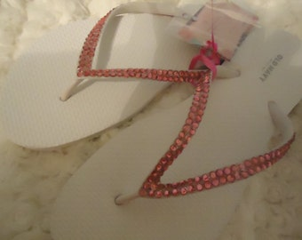 Crystal Flip Flops With Pink Crystals