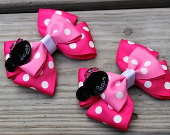 Disney Minnie Mouse Birthday Party Double Stacked Light and Hot Pink Polka Dot Pinwheel Little Piggies Hair BowsSet of 2