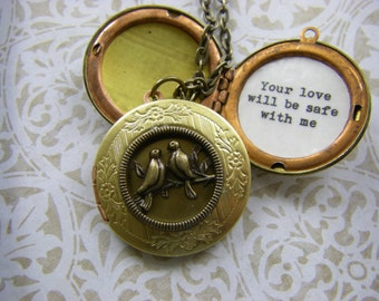 Your Love Will Be Safe With Me, Bon Iver, Bird Locket Necklace, Lovebirds, Groom To Bride, Fiance, Valentine jewelry