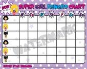 Super hero Girls reward chart INSTANT download