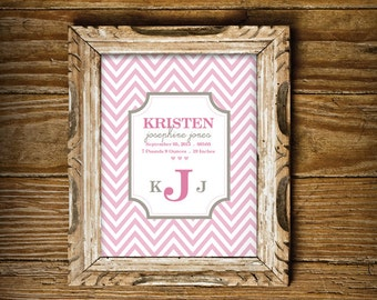 Chic Chevron Birth Announcement Print for a Baby Girl's Nursery - Instant Download Wall Art - Print at Home