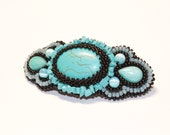 Turquise Beaded Barrette. Gemstone Hair Clip. Amazonite Party Barrette. Small Hair Clip. Semi Precious Stone Hair Accessory. - Biserinka