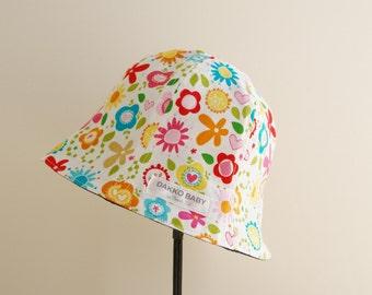 Flower summer hat, baby girl sun hat, baby summer hat, Riley Blake flower print, toddler summer hat - made to order