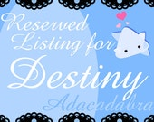 Reserved Listing for Destiny
