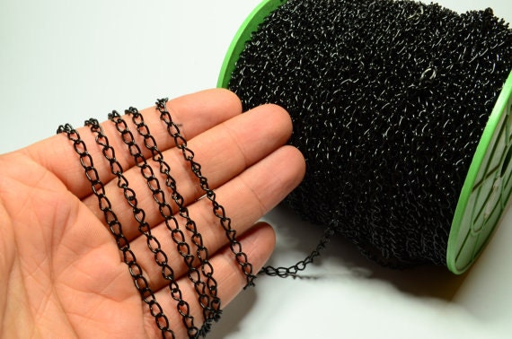 99 Feet 30 Meters Black Chain 3 5 X 5 Mm Circle Thickness Of