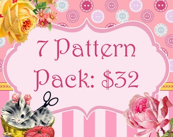 7 Pattern Pack Bundle...Choose any 7 PDF Sewing Patterns and Save Over 40%