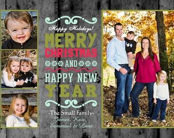 4 photo Rustic Photo Christmas Card Printable Invitation