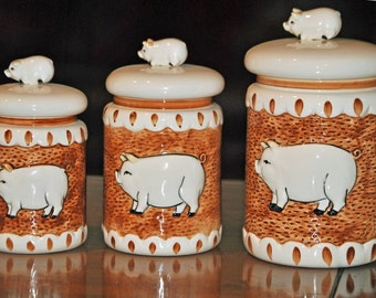 pig kitchen canisters popular items for sigma tastesetter on etsy 14548