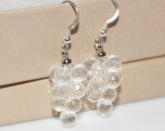 Vintage silver clear Austrian Crystals, Grapes Earrings, Cluster Earrings