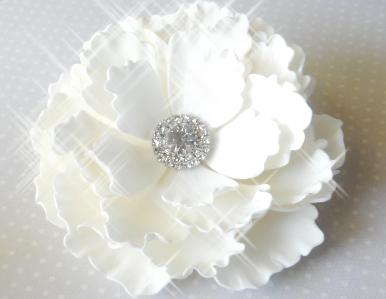 White Sugar Peony w Rhinestones Wedding Cake Topper by Sugar