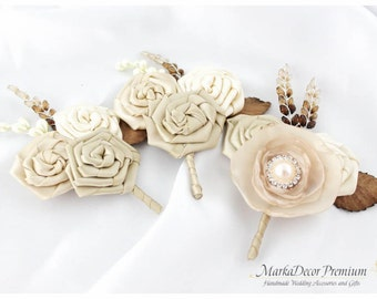 Set of 3 Groom Groomsmen Boutonnieres Wedding Bridal Flower Father Corsages with Flowers, Brooches in Ivory, Champagne, Cream,Tan and Brown