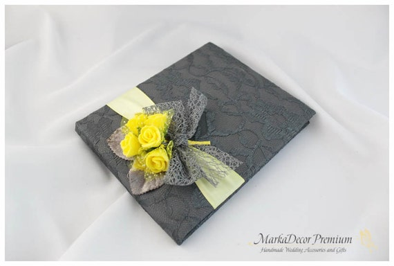 READY TO SHIP Wedding Lace Guest Book Custom Bridal Flower Brooch Guest Books in Dark Grey, Maize and Yellow