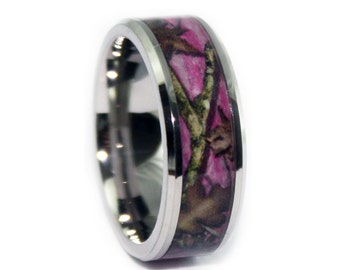 pink camo wedding rings by one camo beveled pink camo titanium engagement wedding ring - Mossy Oak Wedding Rings