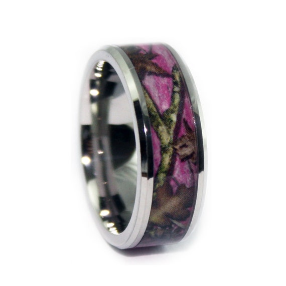 Pink Camo Wedding Rings By ONE CAMO Beveled Pink Camo