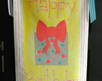 Personalized birthday banner, hand painted canvas- reusable year after year
