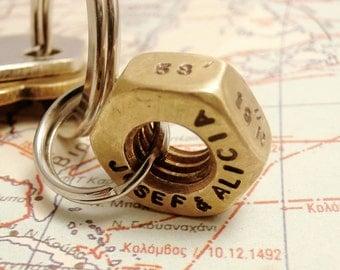 Custom Coordinates Lat. Long. Brass Hex Nut Keychain, Personalized Names Date Initials, Men Boy Family Boyfriend Wedding Gift, EDITORS' PICK