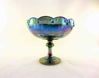Indiana Glass Blue Carnival Compote