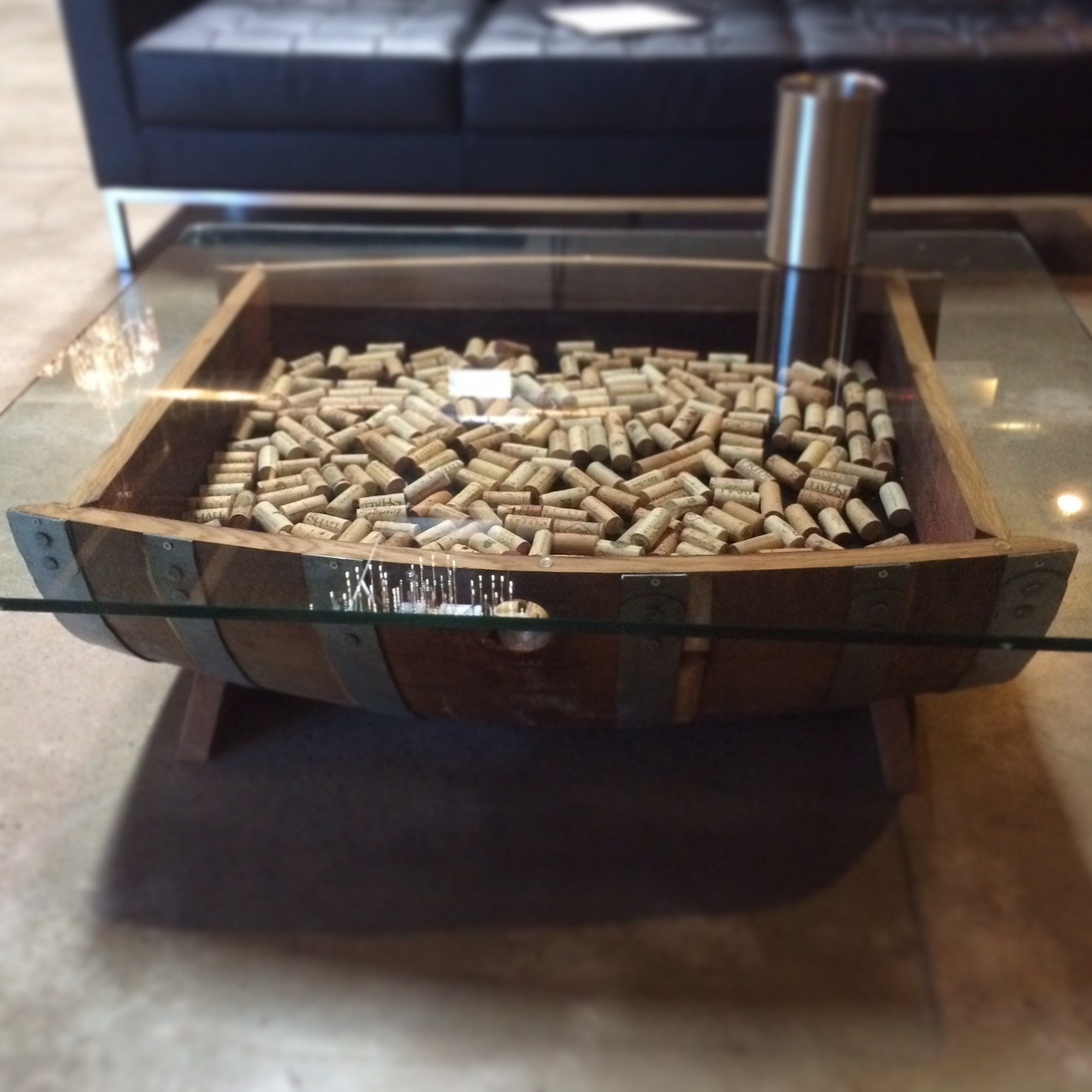 Wine Barrel Coffee Table Glass Top Cork By WineBarrelFurniture