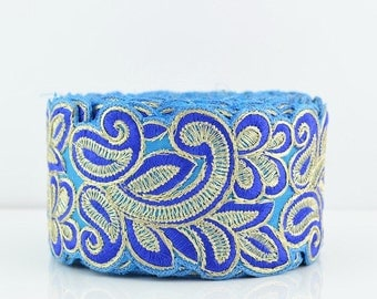 Lace Trim, Embroidered Lace Trim, Border, Indian Style, Floral, Chiffon, Paisley, Filigree, Sky Blue, Blue, Gold Thread - 1 meter