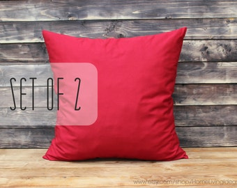 Decorative throw pillows Christmas pillows red pillow cover throw pillows red throw pillow cotton throw pillow cover red 18x18 inches pillow