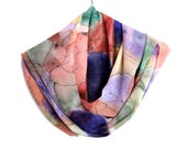 SALE  Scarf chiffon Hand Painted scarf  Abstract Spring  scraf Colorful scarf