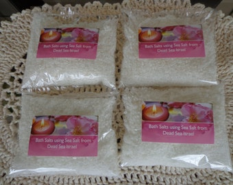 On Sale Bath Salts Four 8 oz Bags Using Sea Salt from the Dead Sea in Israel