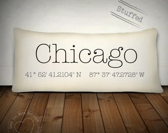 chicago, pillow, custom pillow cover, custom throw pillow, personalized pillow, housewarming gift, custom gift, birthday gift, address